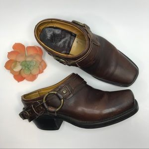 FRYE Harness biker clogs/mules sz 6.5